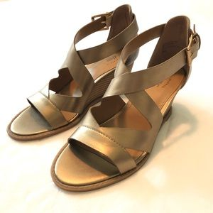 G.H.Bass Wedge Sandals, Gold, Size 7 (NWOT)